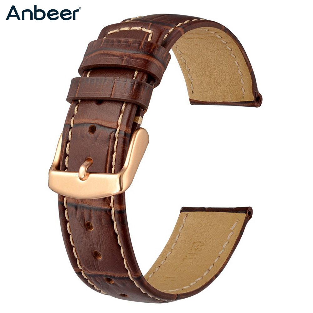 Anbeer Leather <font><b>Watch</b></font> <font><b>Band</b></font> Crocodile Grain Replacement Strap for Men <font><b>Women</b></font>,18mm <font><b>20mm</b></font> 22mm Calfskin Bracelet Black Brown image