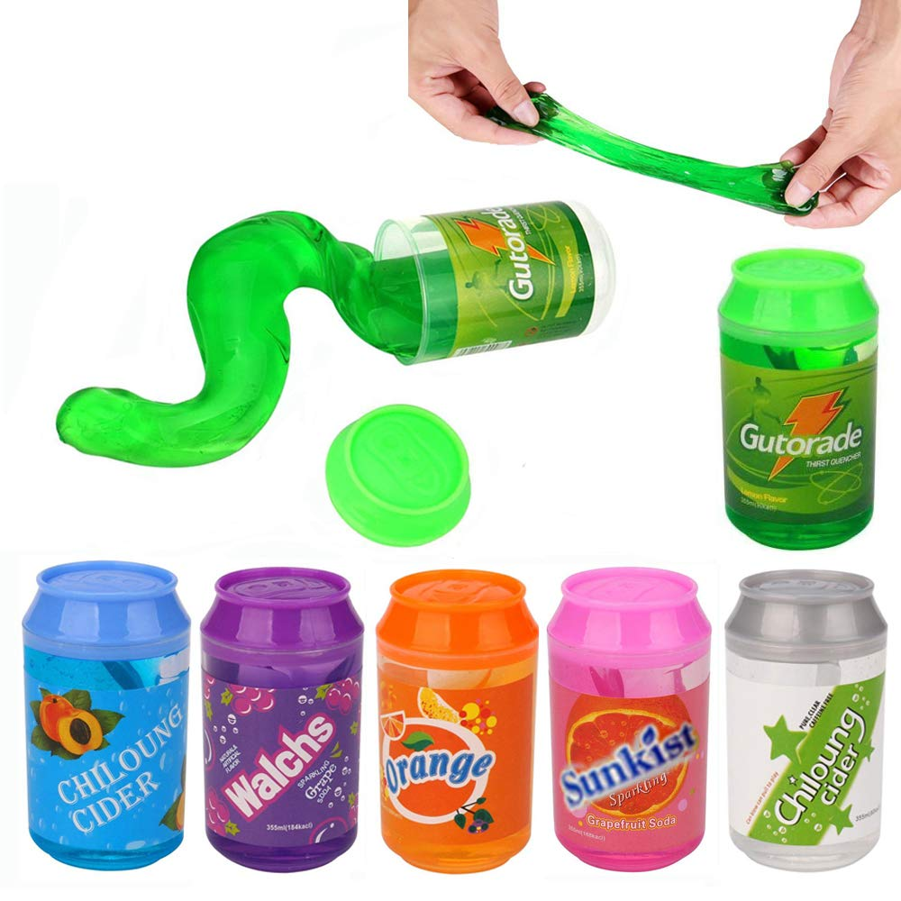6 Colors Crystal Soda Slime Putty Cute cans of clay colors mud DIY transparent jelly Soft Magic Clay blowing bubbles Toy