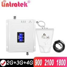 Lintratek repetidor de sinal tri band, 2g 3g 4g gsm 900 4g amplificador de sinal de celular 2100mhz, gsm umts lte
