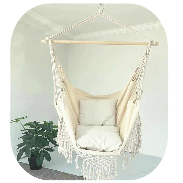 130 x100 x100cm Nordic style Home Garden Hanging Hammock Chair Outdoor Indoor Dormitory Swing Hanging Chair with Wooden Rod 3
