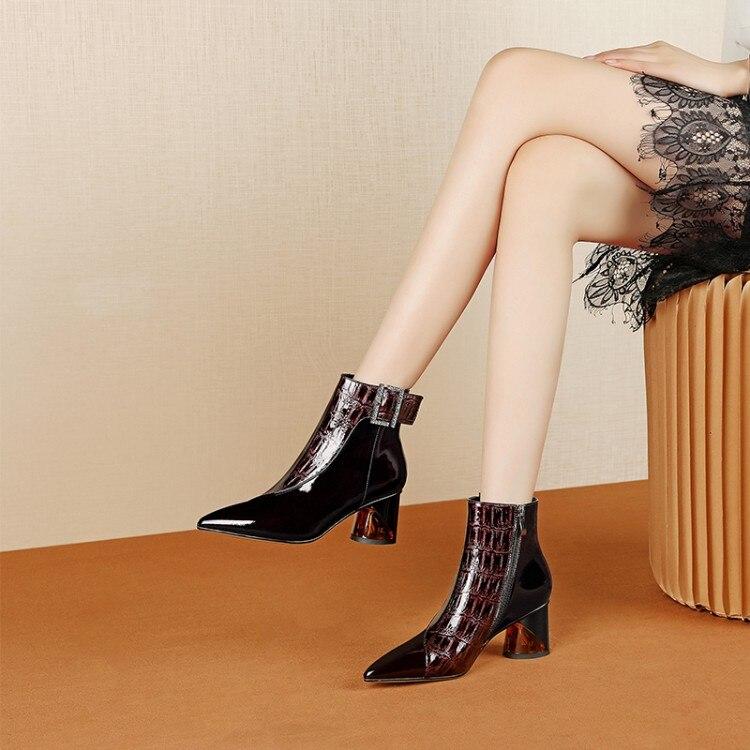MLJUESE/2020 г. Женские ботильоны зимние короткие плюшевые женские ботинки на высоком каблуке с острым носком и пряжкой размер 42