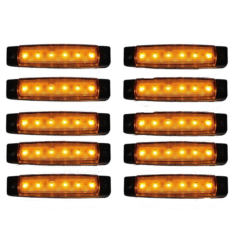 10 Pcs 12V 6 LED Orange Side Marker Indicators Lights Truck Trailer Lamp