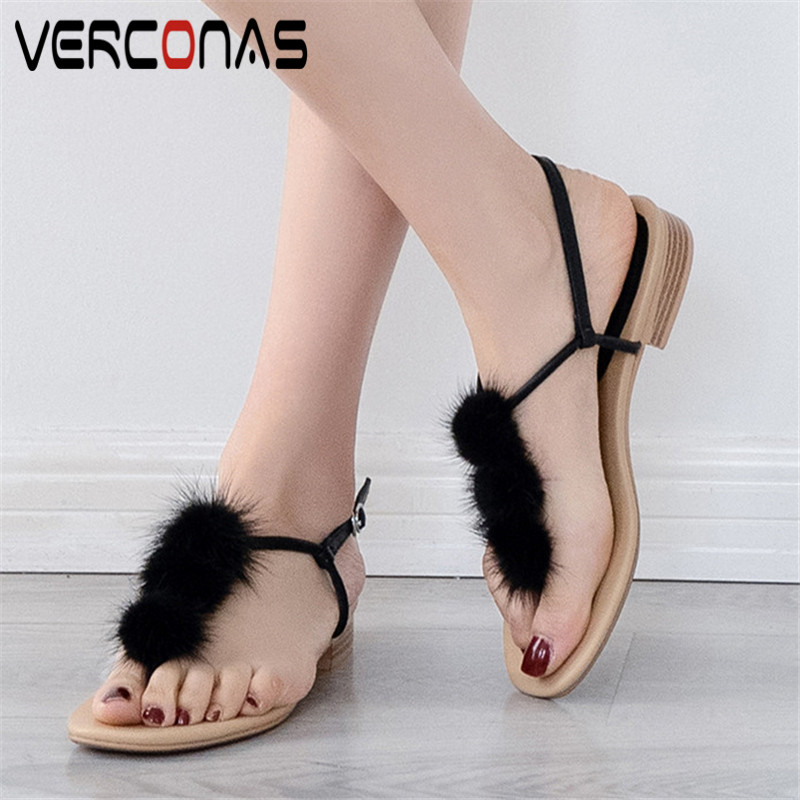 VERCONAS Women Thick Heel Popular Genuine Leather Sweet Classic Design High Heeled Concise Slippers Sandals Summer Shoes Woman