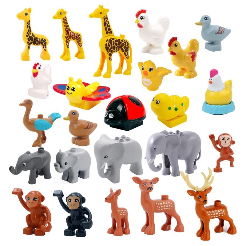 Big Building Blocks Animal Locking Giraffe Deer Chicken Elephant Compatible Sets Bricks Home Educational Toys For Children Gift