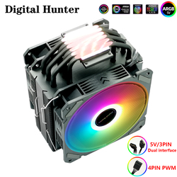 DH240 CPU Cooler 6 Heat Pipes 120mm PWM 4 Pin and 5V 3Pin PC Radiator Quiet For 115x 2011 1366 AMD AM4 AM3 slot light pollution