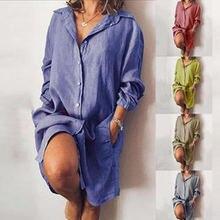 Женское платье рубашка с отложным воротником размера плюс элегантная