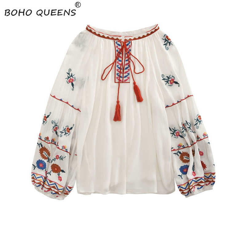 Vintage chic happie women bohemian Tassel beach floral embroidery linen cotton blouse flare sleeve loose Boho shirts blusa