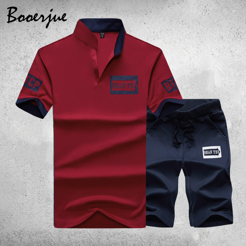 New Summer Short Sleeve Shirt Men Stand Collar T Shirt + Shorts Sets Male Solid Fitness Sportswear Suit Men Breathable Tops 2020