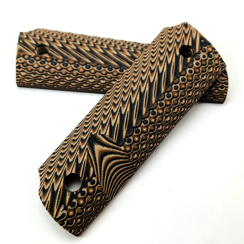 2Pieces Tactics Pistol 1911 Grips Brown G10 Grips Custom Grips CNC Material 1911 Accessories