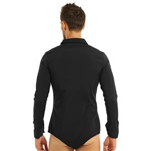 Image 2 - Mens Zipper Latin Dance Dress Shirt with Bowtie One piece Romper Shirts Ballroom Dance Wear for Men Long Sleeves Bodysuit Shirts