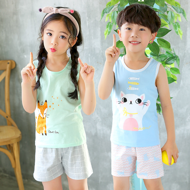 2020 Summer Children Clothing Sets Cotton Kids Sets For Boys Girls 2-8Y Cartoon Print Vest Sets Baby Boys Girs
