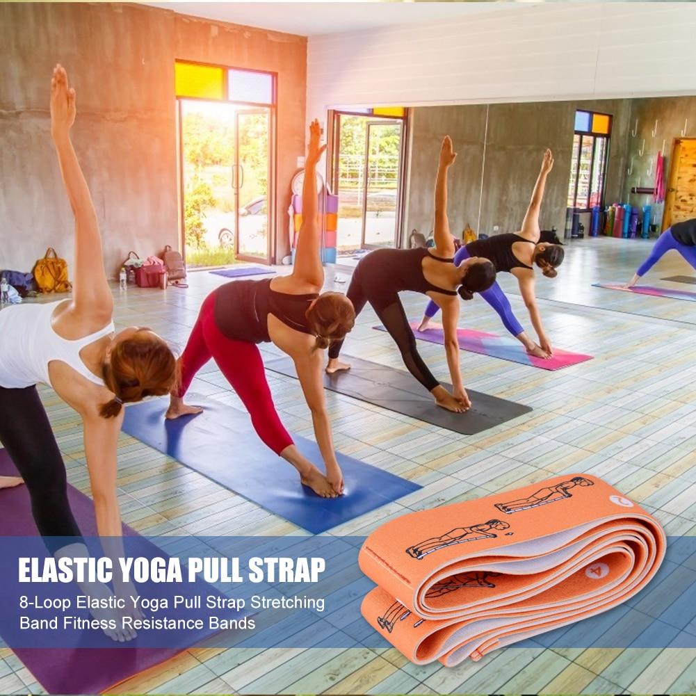 8-Loop Elastic Yoga Pull Strap Stretching Band Fitness Resistance Bands //Neu