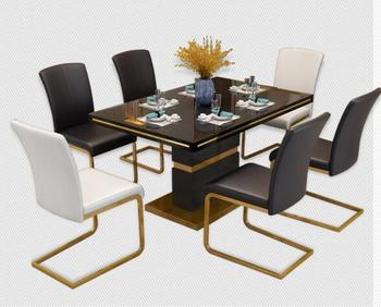 цена на Modern light luxury dining chair dining table chair gold modern simple family dining room fashion back creative leather chair