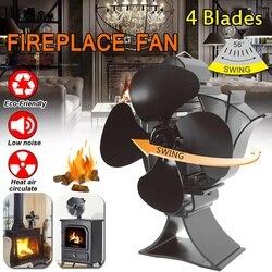 New Swing Head Black Stove Fan 4Blade Fireplace Fan Heat Powered Wood Burner Efficient Eco-friendly Quiet Home Heat Distribution
