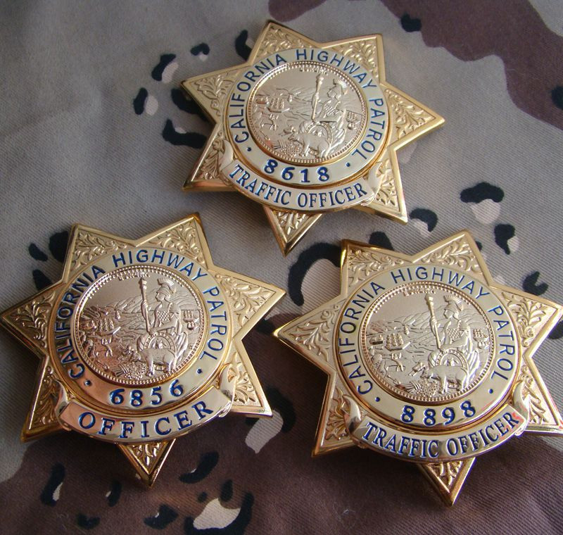 United States California High Way Patrol CHP Badge Copper Traffic No.6856/8618/8898 Shirt Lapel Badge Brooch Pin