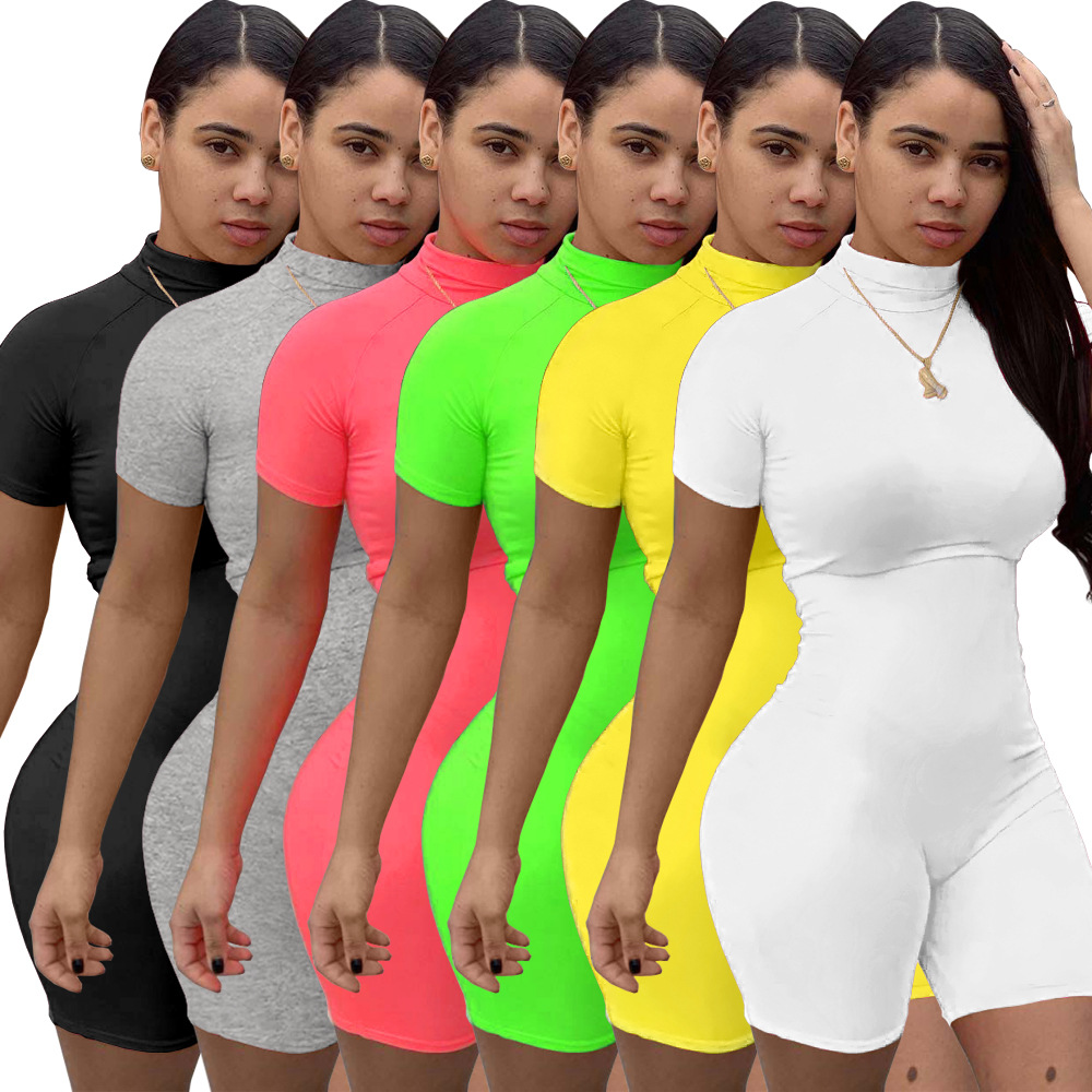 Fitness Women Streetwear Neon Bodysuit Women Mock Neck Short Sleeve Casual Playsuit High Elastic Sexy Tight Sports Overalls 2020