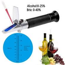 Portatif D'alcool de Vin Réfractomètre Avec ATC Double Échelle Brix 0-40% 0-25% VOL Testeur Optique Pour Le Vin De Raisin Faisant Homebrew Outil