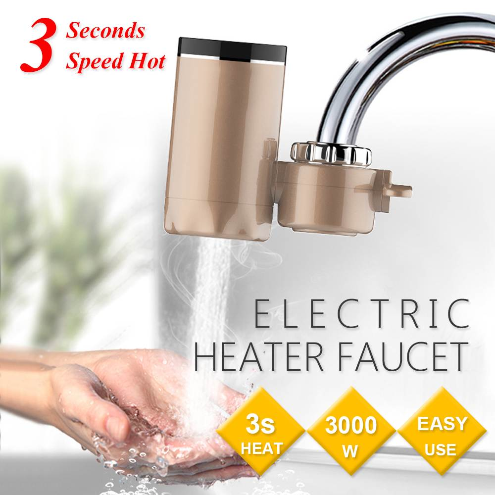 3000W Instant Tankless Electric Hot Water Heater Faucet Kitchen 3s Instant Heating Tap Water Heaters With LED EU Plug 220V