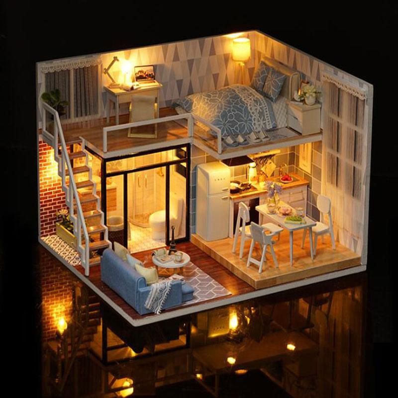 ¡Novedad! Casa de muñecas en miniatura de madera con muebles DIY, Fidget Toys para niños, regalo de cumpleaños, Blue Times - 2
