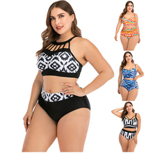 Bikini 2020 push up two-piece sexy open-back swimsuit vintage floral print female high waist swimsuit Biquini women's swimwear mesh insert open back leaf print swimsuit