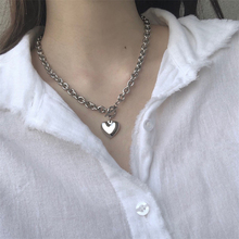 2021 Punk Silver Color Big Heart Clavicle Necklace Fashion Women OT Buckle Thick Chain Pendant Necklace Metal Chain Jewelry Gift