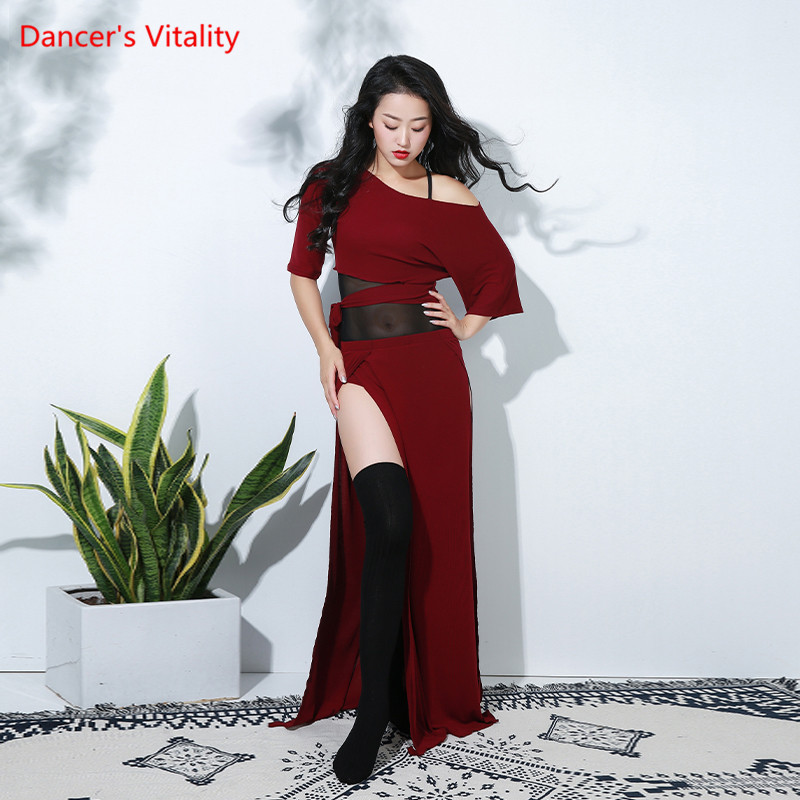 Hot Sell New Arrival Women Bellydance Costume 2 Piece Set Red Green Mesh Fabric Oriental Dance Outfit