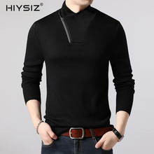 HIYSIZ Sweater Men 2019 Half Turtleneck Zipper Design Brand Fashion Casual Long Sleeve Autumn Winter  Streetwear Pullover SW037