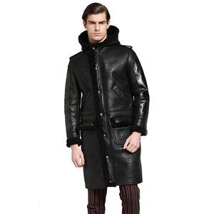 Image 3 - À capuche épaissir longue peau de mouton manteau hommes hiver chaud mouton en cuir veste en cuir véritable marron à capuche véritable fourrure vêtements