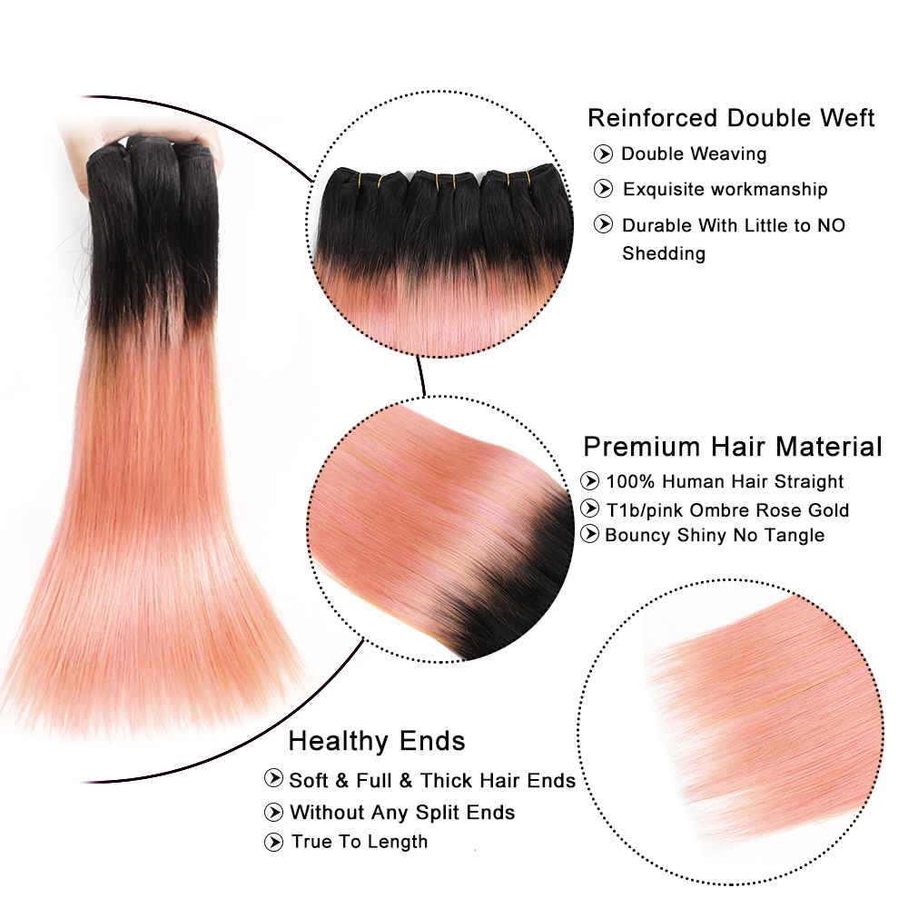 Image 5 - MOGUL HAIR Ombre 1B Grey Pink Straight Hair Weave Bundles Brazilian Hair 1 pcs Non Remy Human Hair Extension 10 18 inchHair Weaves   -