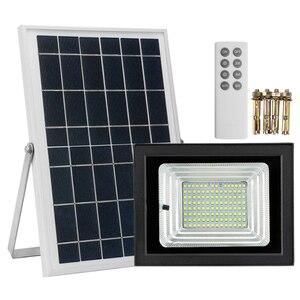 Уличный Водонепроницаемый светодиодный настенный светильник на солнечной батарее мощностью 100 Вт, прожектор с дистанционным управлением д...