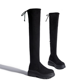 JIANBUDAN Platform wedge women's autumn thigh boots Winter plush over the knee boots Sexy Female stretch high heel boots 34-40 3