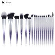 Ducare 17 pçs pincéis de maquiagem conjunto fundação pó sombra sobrancelha escovas para maquiagem kit de ferramentas cosméticos
