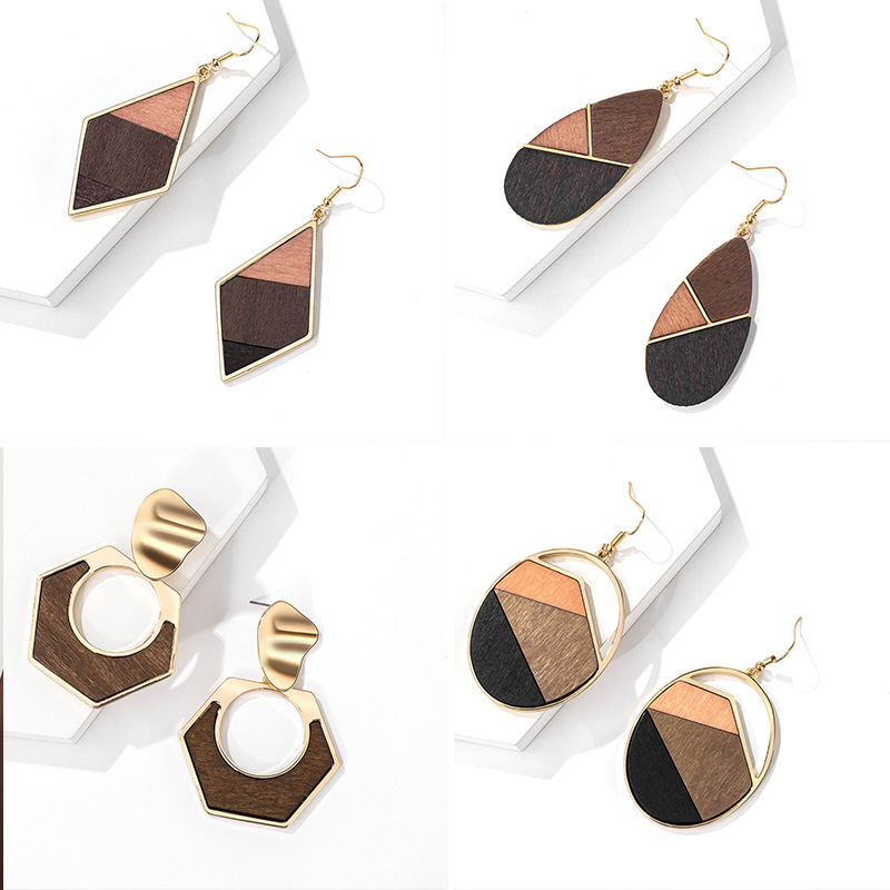 ZWC Vintage Wooden Metal Geometry Stitching Drop Earrings For Women Party Brown Bohemian Style Pendant Earrings 2020 Jewellery