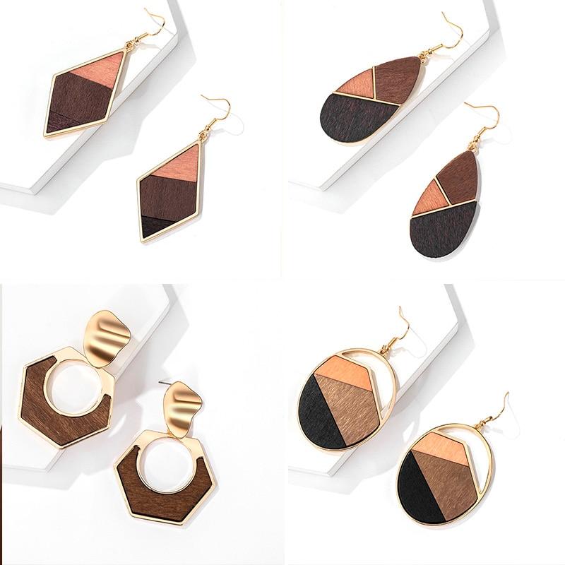 ZWC Vintage Wooden Metal Geometry Stitching Drop Earrings For Women Party Brown Bohemian Style Pendant Earrings 2020 Jewellery