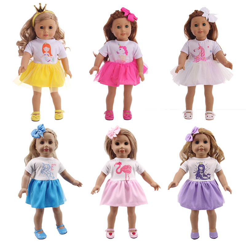 Doll Unicorn Clothes Mermaid Dresses+Hair Accessories For 18 Inch American&43Cm Baby Born Doll Generation Christmas Girl's  Gift