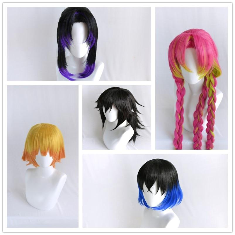 Demon Slayer Kimetsu No Yaiba Cosplay Wig Party Hairs Hashibira Kanroji Mitsuri Kochou Shinobu Tomioka Giyuu Agatsuma Zenitsu