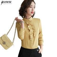 Yeni bahar mizaç standı yaka Ruffles gömlek kadın moda resmi uzun kollu ince bluzlar ofis bayanlar iş başında