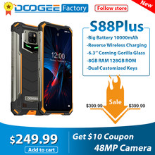 Telefone celular áspero 8gb 10000 gb android 10 helio p70 octa core global 4g telefones doogee s88 plus smartphone ip68/ip69k 128 mah