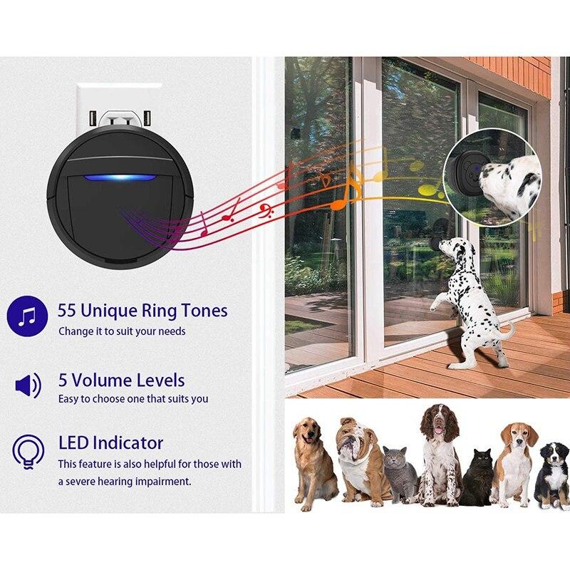 Dog Doorbell, Black & White Wireless Communication Doorbell , Waterproof Smart Bell for Puppies with Super-Light Press Button, I-3