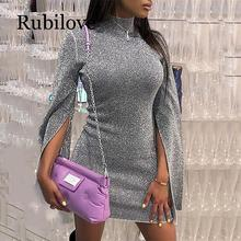 Rubilove Turtleneck dress women slit flare sleeve bodycon dress Autumn shinny mini dresses Silver glitter party dress vestiods slit front transparent glitter dress