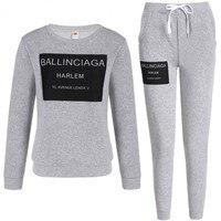 M & DE комплект из двух предметов, женский черный серый пуловер с круглым вырезом и надписью conjuntos de mujer, комплект из 2 предметов, женская одежда,...