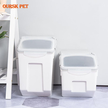Large Capacity Sealed Pet Cat Food Storage Box Rice Storage Bucket with Spoon Pet Dry Food Anti-oxidation Home Storage Organizer