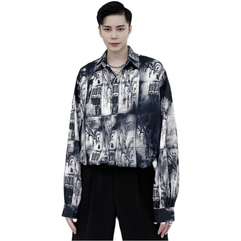 Clearance Sale⌠Men's long-sleeved shirts 2020 autumn and winter new ink graffiti printed shirts young people fashion trend men's clothing