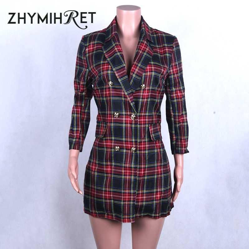 ZHYMIHRET Красный Клетчатый Блейзер платье для женщин Элегантный три четверти рукав двубортное платье отложной воротник офисные женские платья