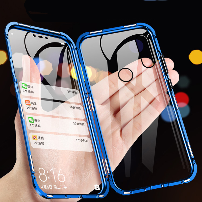360 Magnetic Metal Phone Case For OPPO Realme X XT Double Side Glass For OPPO Realme X Lite 9H tempered glass Cover phone case|Fitted Cases| |  - title=