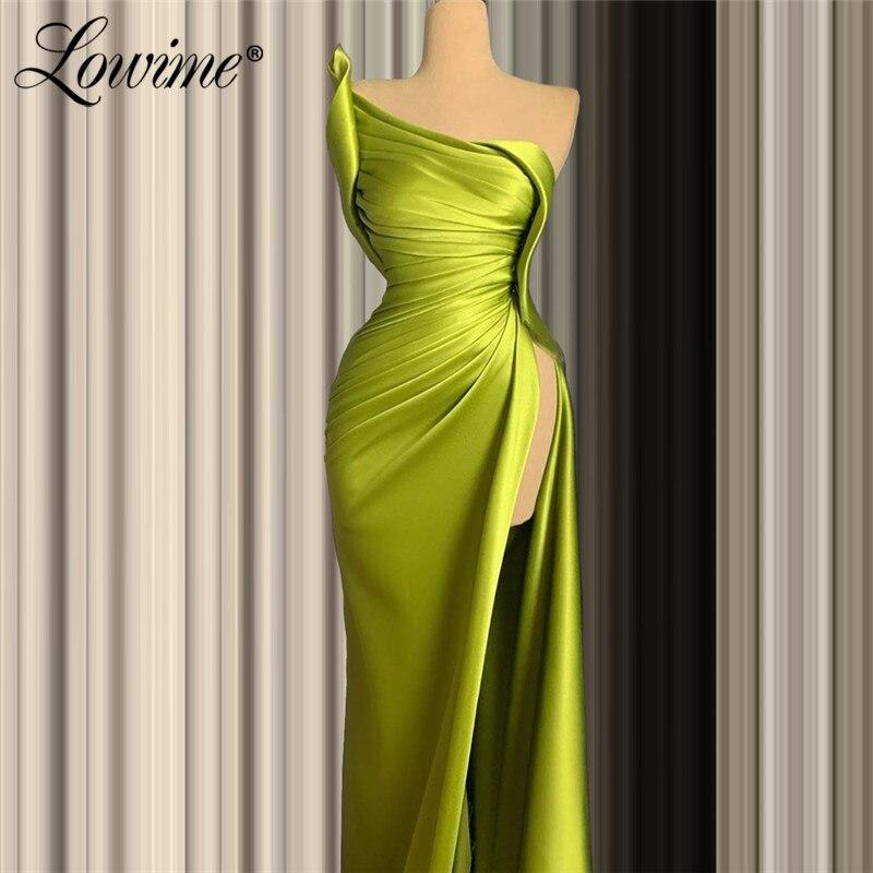 Green One Shoulder Party Dress Cheap Formal Evening Gowns Pleats 2020 Abendkleider Mermaid Satin Kaftans Vestidos De Festa