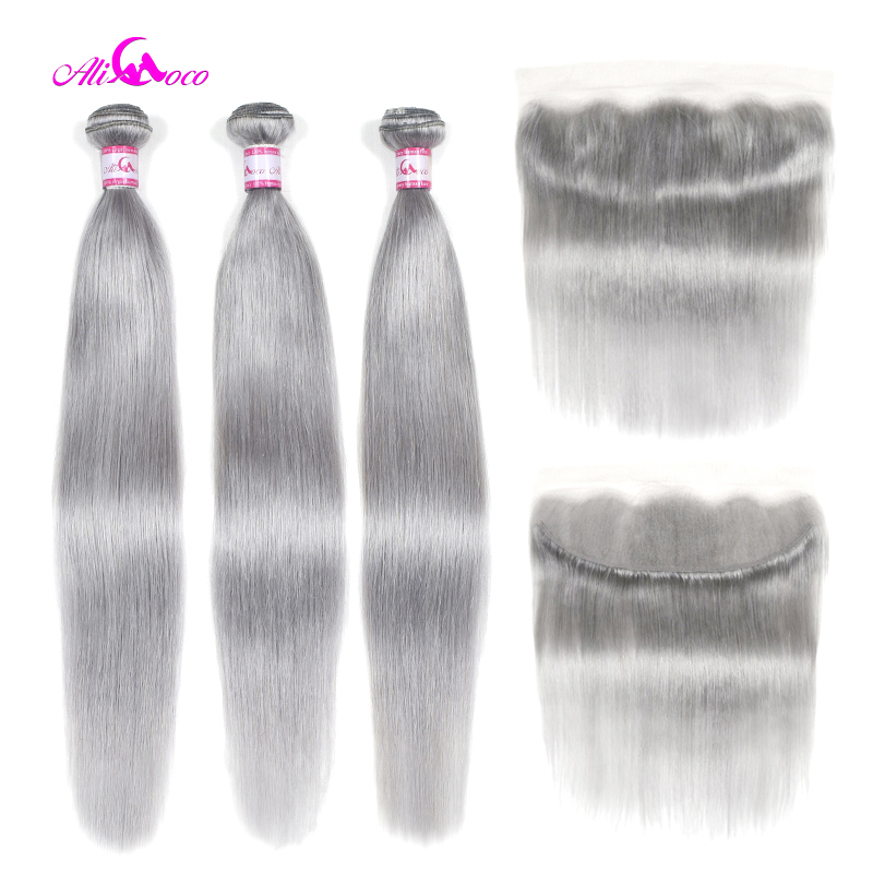 Human-Hair Hair-Weave-Bundles Frontal Ali Coco Straight Brazilian with Grey Color title=