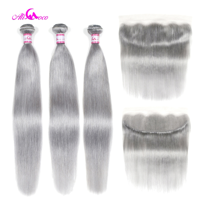 $ US $92.28 Ali Coco Straight Human Hair 3 Bundles With Lace Frontal Grey Color Brazilian Hair Weave Bundles With Frontal Remy Hair