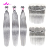 Ali Coco Straight Human Hair 3 Bundles With Lace Frontal Grey Color Brazilian Hair Weave Bundles With Frontal Remy Hair