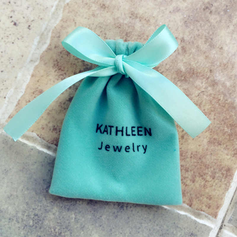 Beludru Serut Tas Pribadi Kantung untuk Perhiasan Kecil Pernikahan Nikmat Hadiah Dapat Kustom Perhiasan Tas Kemasan dengan Logo